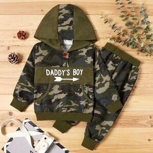 PatPat 2020 New Arrival Autumn and Winter 2-piece Baby  Toddler Boy Camouflage Letter Print Hoodie and Sporty Harem Pants Set