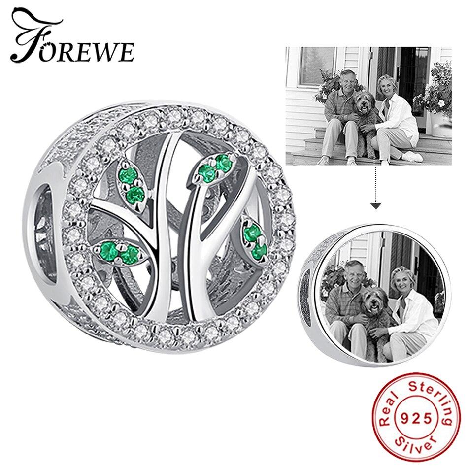 Foto personalizada 925 Plata de Ley Árbol de la familia encanto cuentas de cristal Ajuste Original encanto pulsera collar DIY joyería personalizada