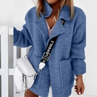 2021 women big pocket loose knitted sweater autumn solid long sleeve female sweaters winter thick turn down collar cardigan tops