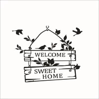 Autocollants muraux de bienvenue en vinyle  decoration de maison  signe de porte  oiseau  fleur  vigne  Art Mural