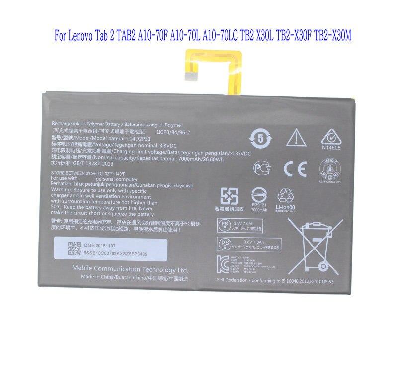 1x7000 мА/ч, L14D2P31 Замена Батарея для lenovo Tab 2 TAB2 A10-70F A10-70L A10-70LC TB2 X30L TB2-X30F TB2-X30M батареи