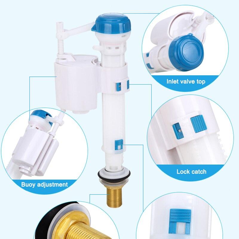 Válvula de entrada de inodoro ajustable, válvulas de descarga de cisterna, válvula de botón de descarga para tanques de cisterna Syphon baño G1/2 JDH99