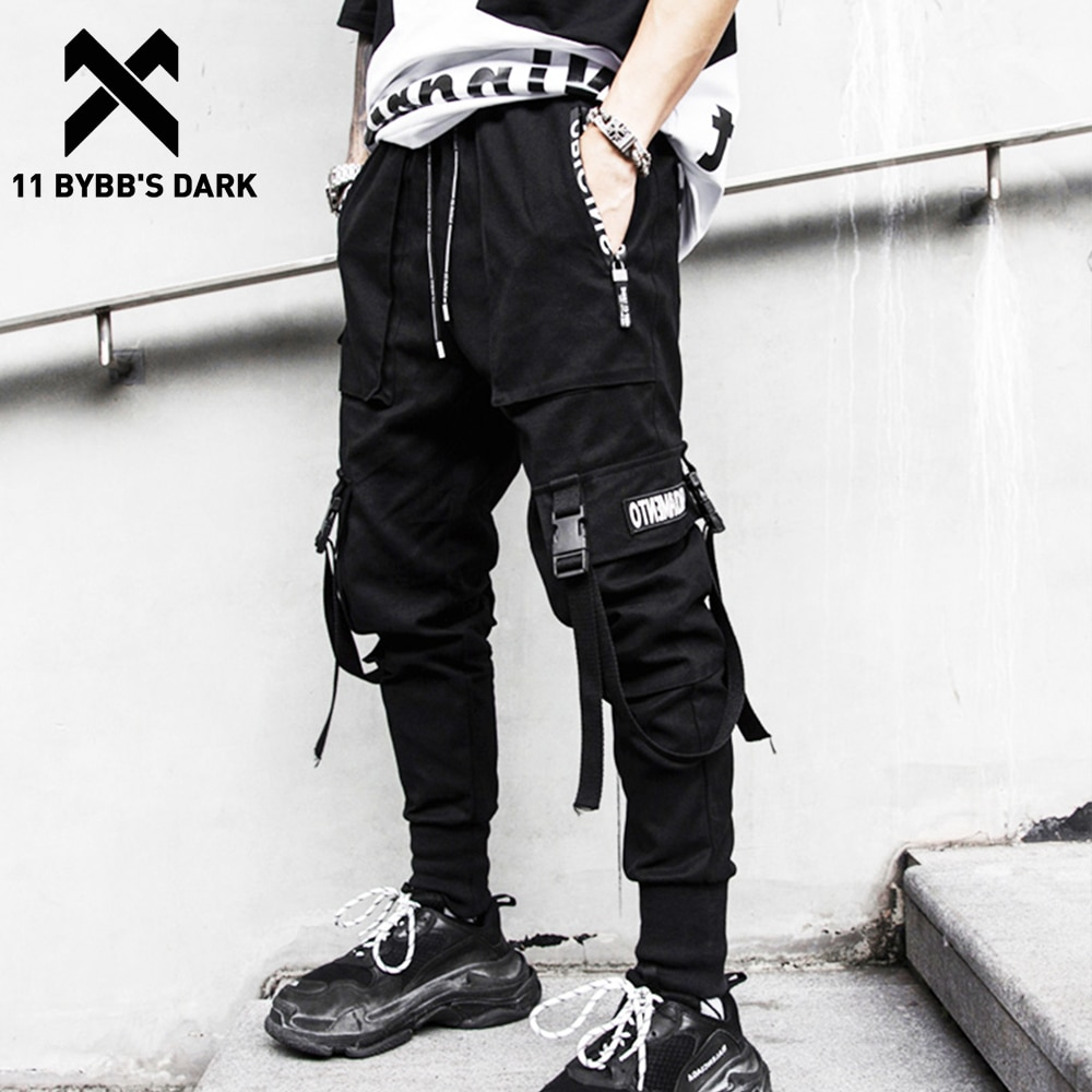 11 BYBBS rubans foncés Multi poches Cargo pantalon hommes Harajuku joggeurs décontracté piste Streetwear pantalon hommes Hip Hop pantalon Techwear