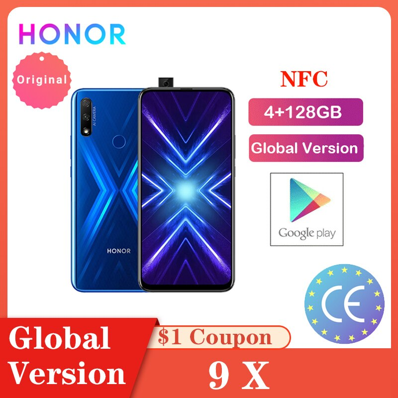 "Honra 9X 4GB 128GB Versão Global NFC Smartphones Triplo 6.59 ""Display All-Dia Bateria 4000mAh الهاتف FullView الخلوي Смартфоны"