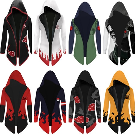 Naruto Namikaze Minato Cosplay chaqueta Trench bata Akatsuki manto Carnaval de Halloween traje de las mujeres de los hombres con capucha capa abrigo espesar