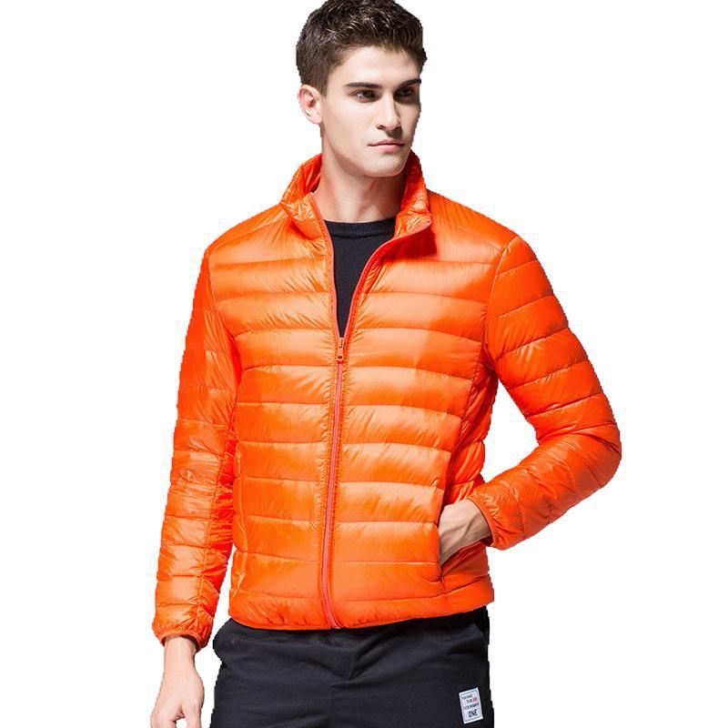 Outono novo estilo britânico-estilo masculino luz para baixo jaqueta de pato branco para baixo moda urbana gola masculina