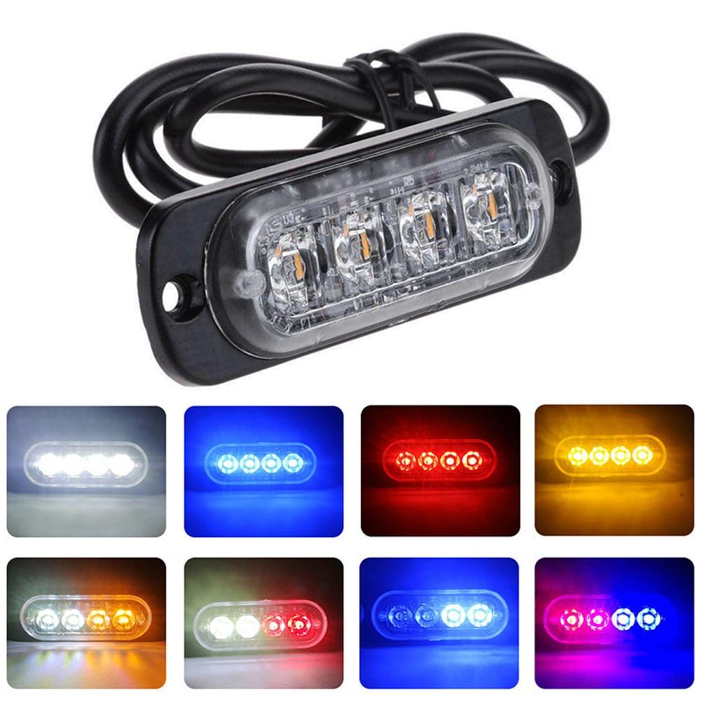 4LED Car Strobe Warning Lights Grill Flashing Breakdown Emergency Lamp Truck Trailer Beacon Lamp LED Side Light For Cars 12V 24V