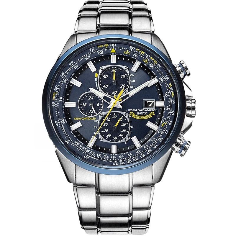 Watch Men Stainless Steel Automatic Date Display Quartz Wristwatch Fashion Luxury Brand Business Rel