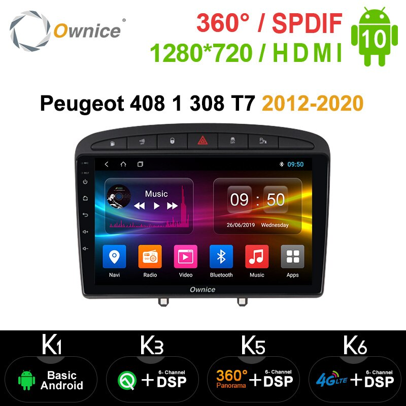 Ownice Android 10.0 8Core Car Dvd-speler Gps Navi Voor Peugeot 408 Voor Peugeot 308 308SW 2008 2009 Radio stereo Head Unit