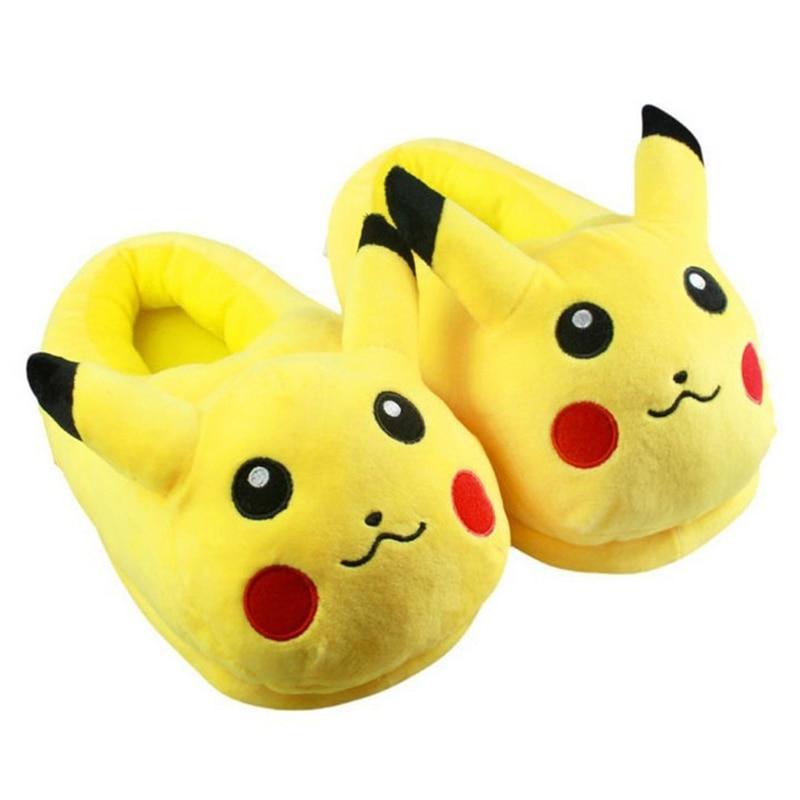 Zapatillas cálidas de algodón con animales de peluche, zapatillas de Cosplay de Pikachu, Zapatillas de casa para mujer y hombre, zapatillas de felpa para adultos