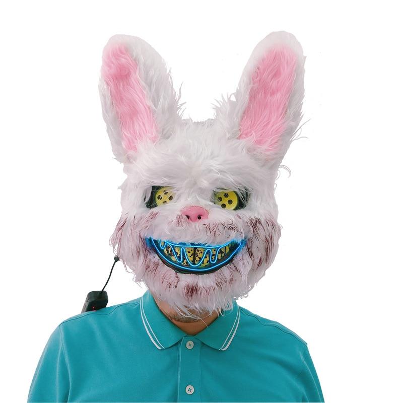 36cm halloween sangrento rosa coelho máscara brinquedo de pelúcia animal colorido luz engraçado adulto crianças cosplay traje festa adereços presente