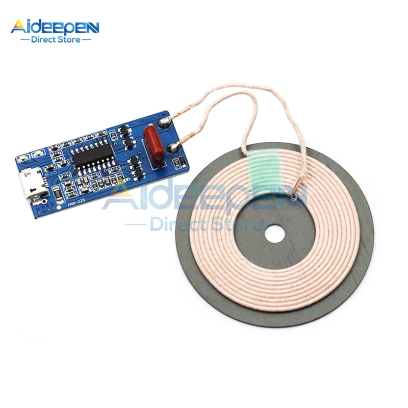 HW-225 5V 1A 5W cargador inalámbrico módulo transmisor con bobina DIY carga Compatible WPC receptor soporte FOD LED indicador