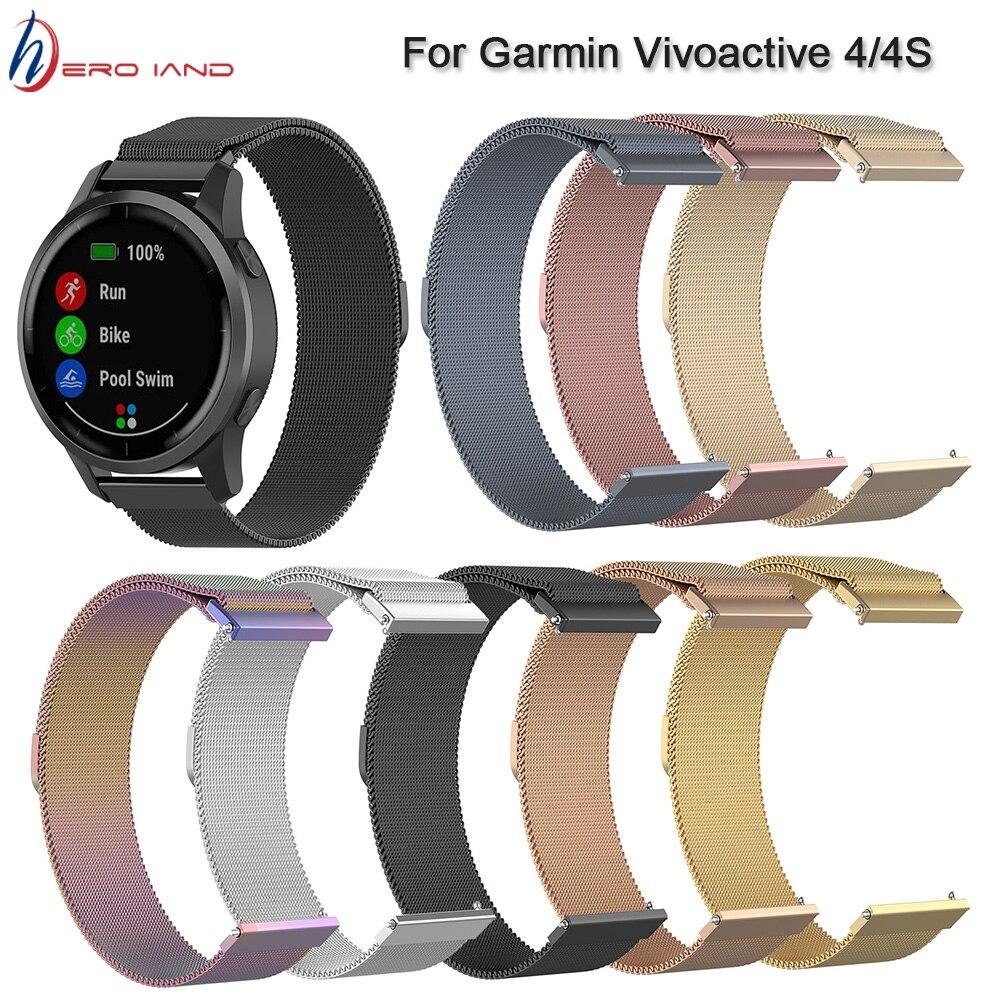 Correa de reloj milanesa 18 20 22MM para Garmin Vivoactive 3 4 4S reloj pulsera de correa inteligente para Garmin Vivoactive3 inoxidable