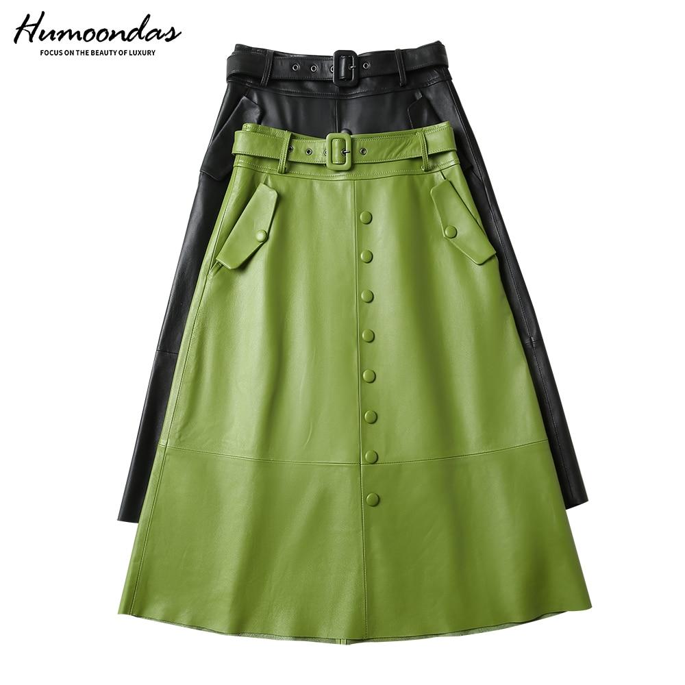Real Leather Skirt Ladies Harajuku Work A-Line Skirts Women Luxury Sheepskin Genuine Leather Skirts Large Size 3XL Korean Female