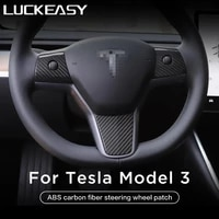 luckeasy car steering wheel decorative patch for tesla model 3 2017 2021 abs steering wheel accessories decorative frame patch
