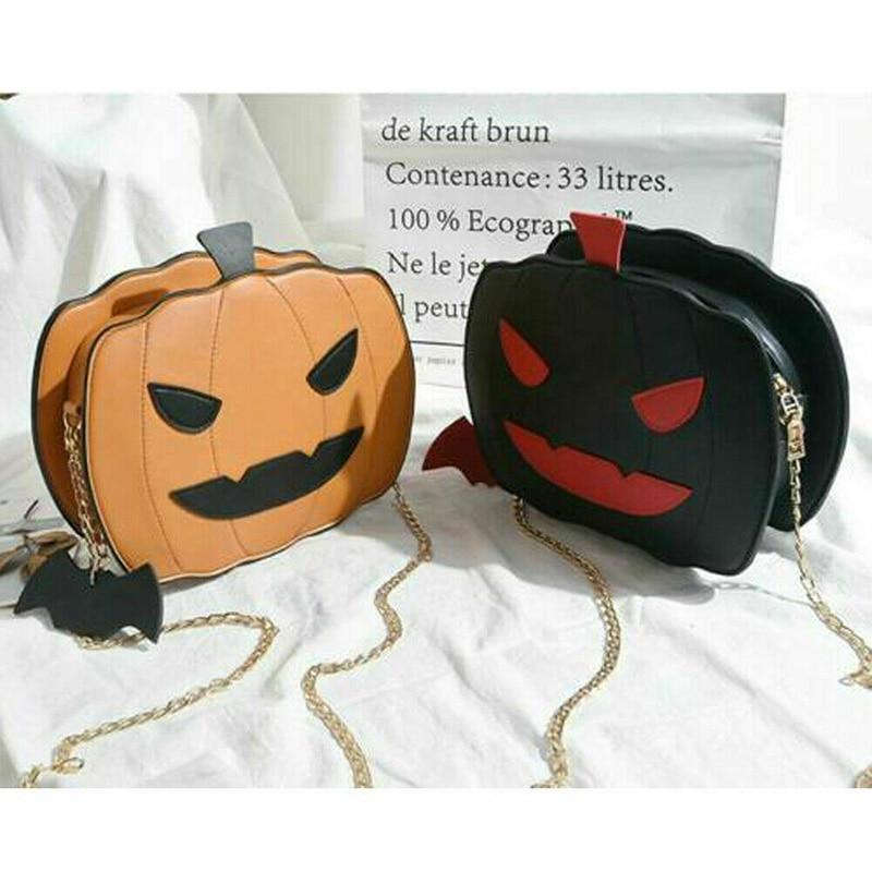 Bolsa de abóbora feminina saco de doces de halloween pequeno diabo bolsa de ombro mensageiro melhor venda-wt