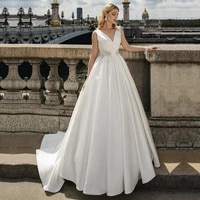 lorie 2020 v neck a line satin wedding dresses with lace appliques beadings bridal gowns sleeveless back lacing princess gowns