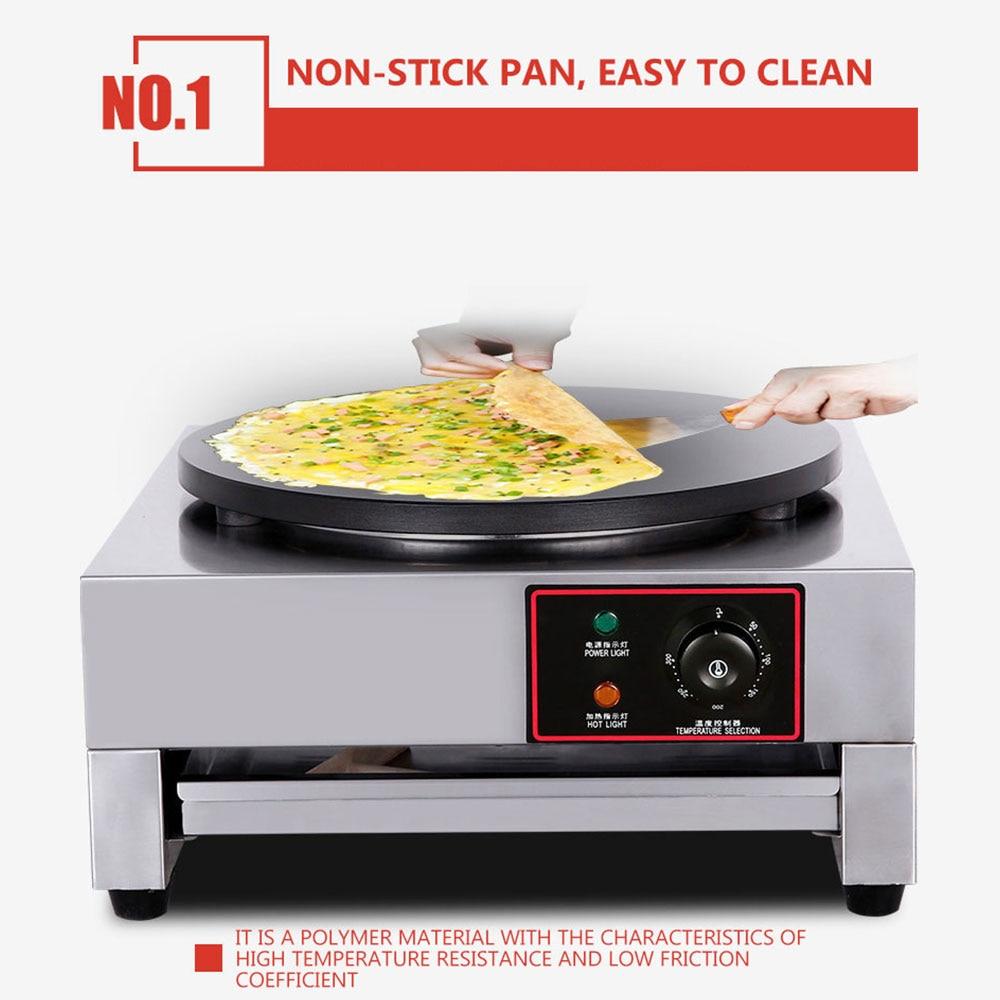 صانع كريب كهربائي التجاري الفولاذ المقاوم للصدأ البيتزا آلة صنع الفطائر المحلاة كريب فطيرة مقلاة خبز كهربائية