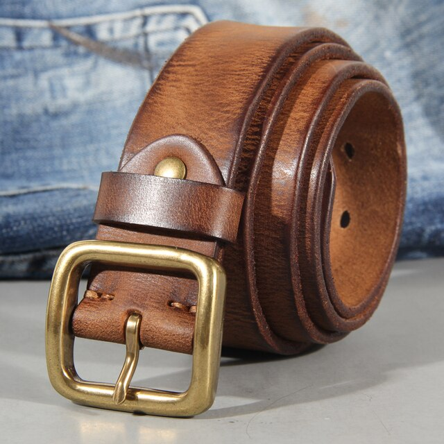 3.8cm Belt Male Leather Copper Buckle Handmade First Pure Cowhide Retro All-match Casual Jeans Soft Belt Brown Black Luxury