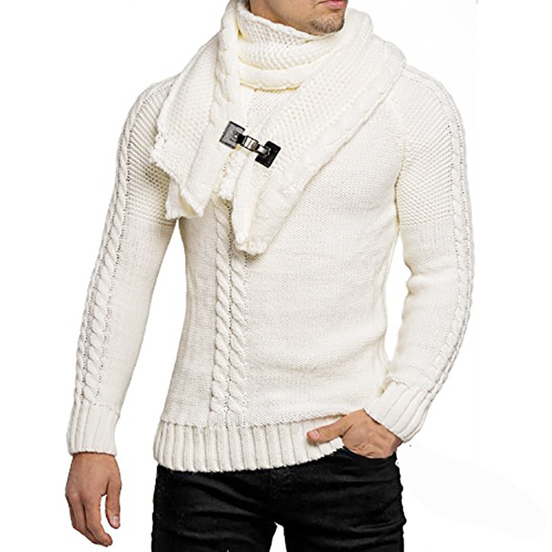 Clothes Long-sleeved Slim Round Neck Sweater Detachable Leather Buckle Bib Pullover Harajuku  Mens Oversized Sweater