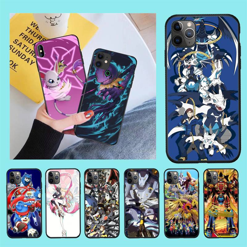 Digimon anime japonés DIY pintado Bling caja del teléfono para iPhone 11 pro XS MAX 8 7 6 6S Plus X 5S SE 2020 XR caso