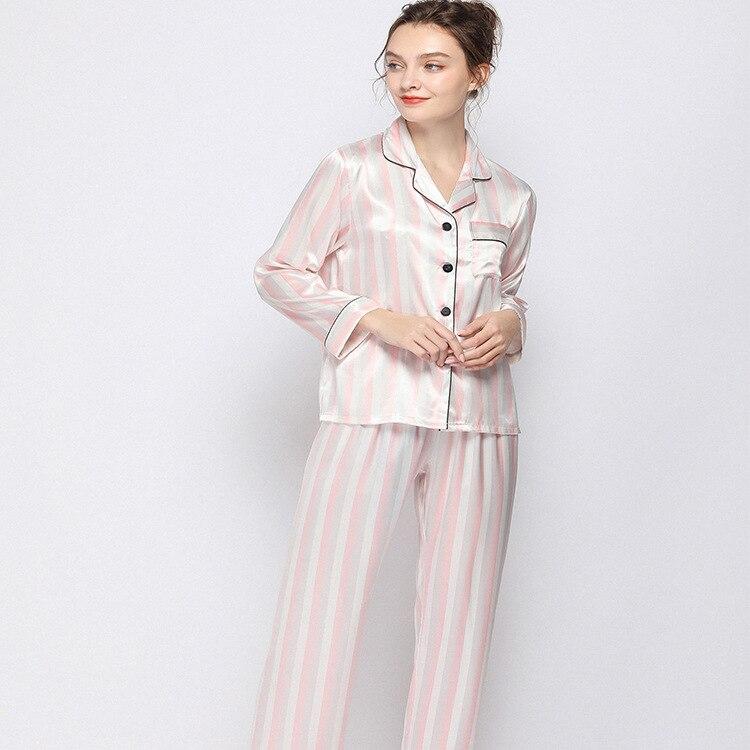 Imitar pijamas de seda Real rayas Mujer encantador pantalones de manga larga Twinset cómodo Conjunto de pijama