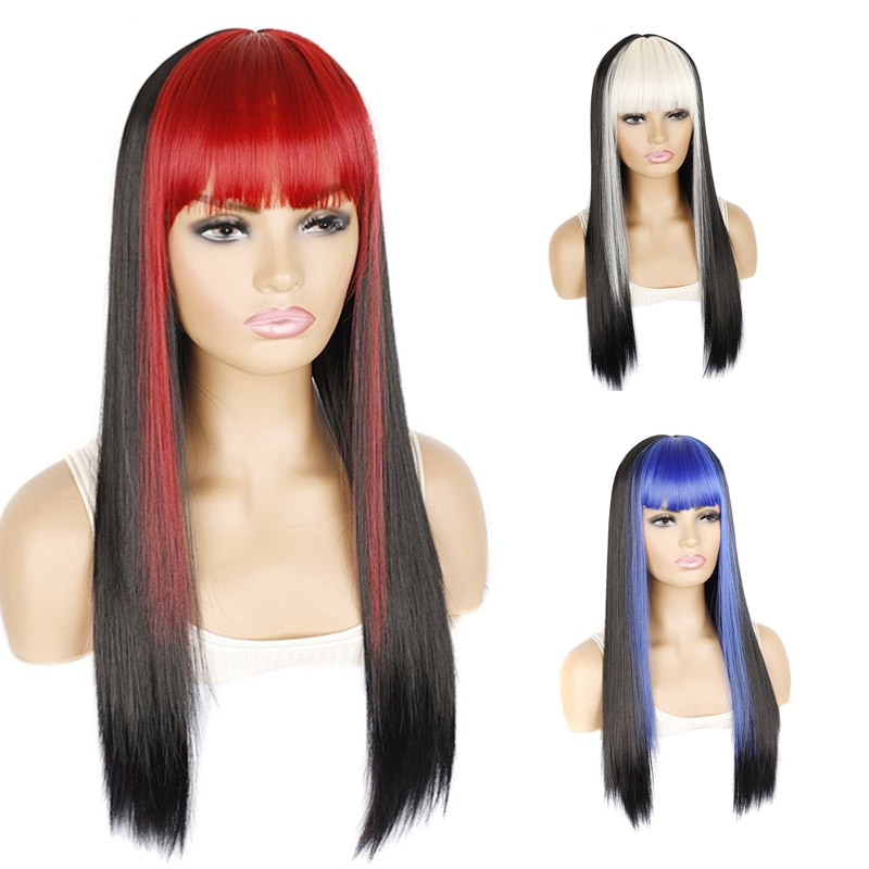 شعر مستعار بوب للنساء البيض ، شعر ناعم وطويل ، مع غرة ملونة ، أسود ، أحمر ، وردي ، عصري
