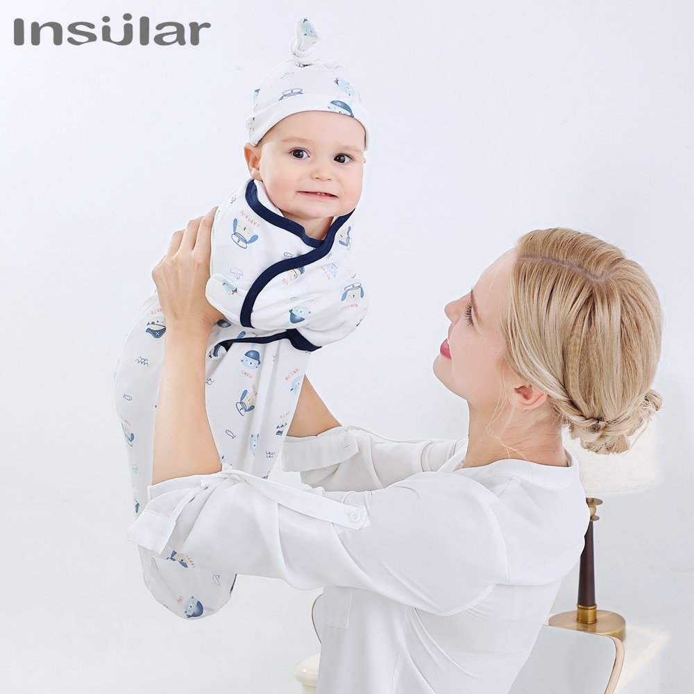 insular Baby Blankets Swaddles Newborn Sleeping Bag With Swaddle Wrap Cotton Baby Bedding Accessories Bath Towel Swaddle