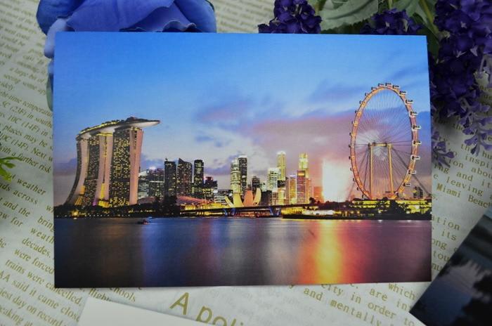 Singapur León ciudad viaje postal paisaje tarjetas de felicitación Colección Arte Lenticular reciclado grabable 15*10cm 8 Uds