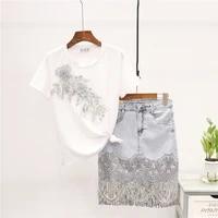 summer new fashion beading embroidery t shirt sequins tassel denim skirt set women loose white tee short jeans skirt suit female
