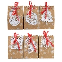 6pcsbag new candy box biscuit bag christmas kraft paper snowflake paper bag christmas tree biscuit bag candy box for guests