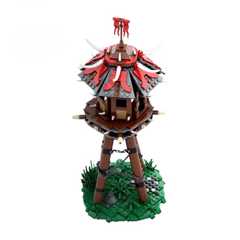 Fantasy Orc`s Tower MOC Village Hunter Beast Architecture Mini Blocks Model Building Bricks Expert Set