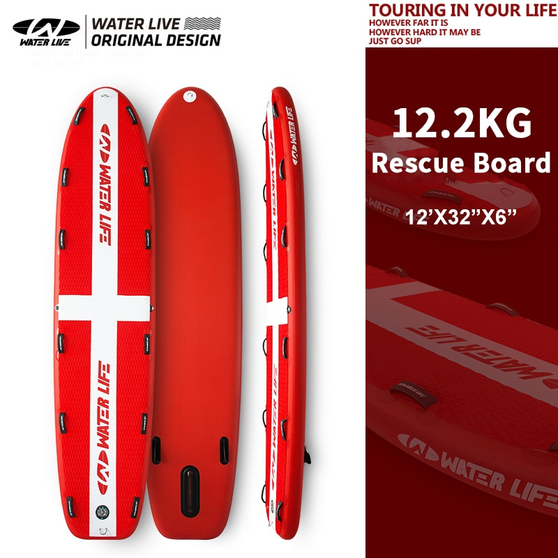 """WATER LIVE Rescue Inflation Paddle Board 12.2KG Professional Life Saving Surfing Board Aquatic Sports Paddle Board 12'x32""""x6"""""""