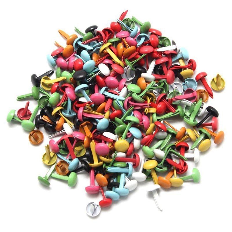 Set of 200 Mini Parisian fasteners multicolor paper craft Stamping Scrapbooking DIY tool 4.5mm