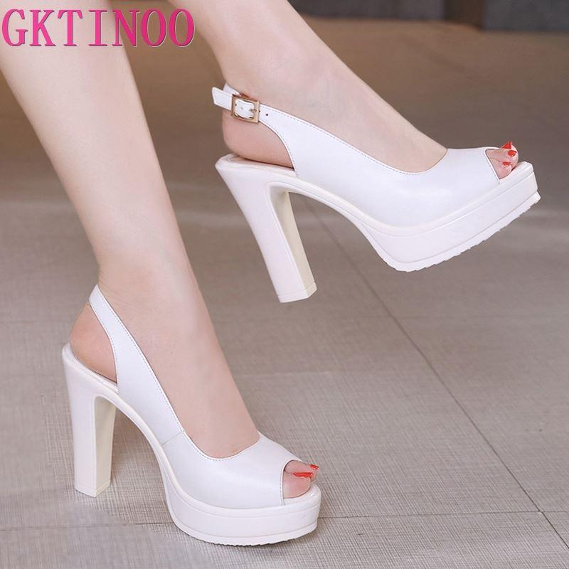 GKTINOO, zapatos de tacón alto de talla grande 43 para mujer, zapatos de tacón alto de moda 2020 para oficina, zapatos de tacón de Punta abierta para fiesta, zapatos para novia de cuero