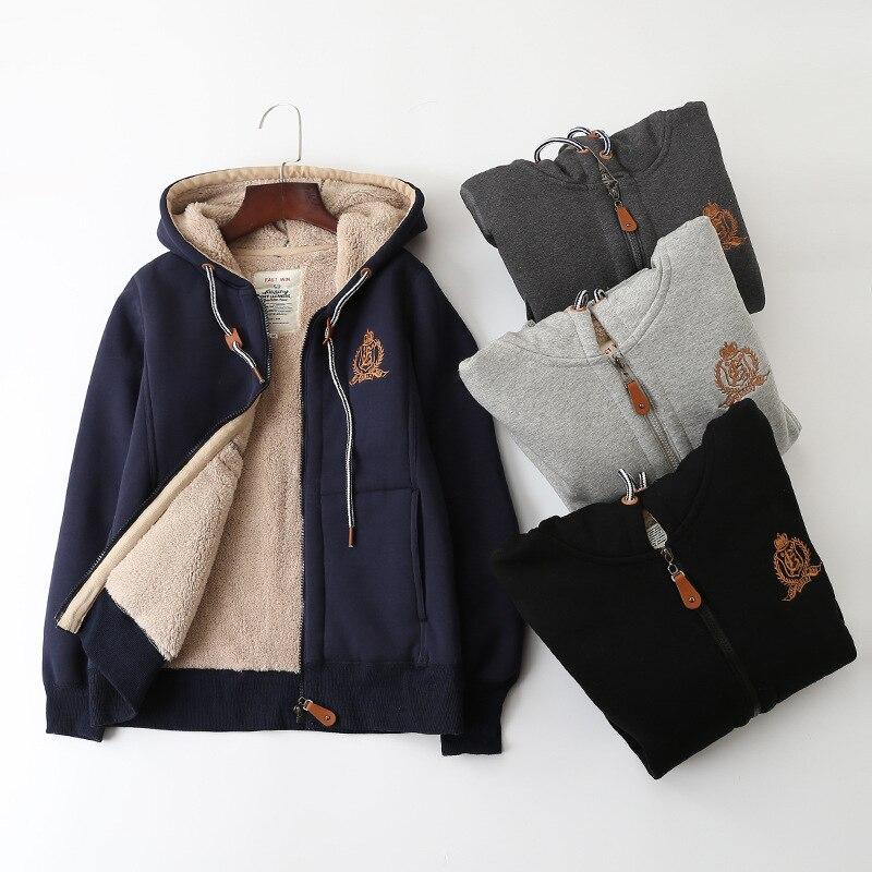 Invierno cepillado y grueso chaqueta con cremallera y capucha con capucha de las mujeres de estilo coreano de manga larga de gran tamaño suelto parejas bereber Flee