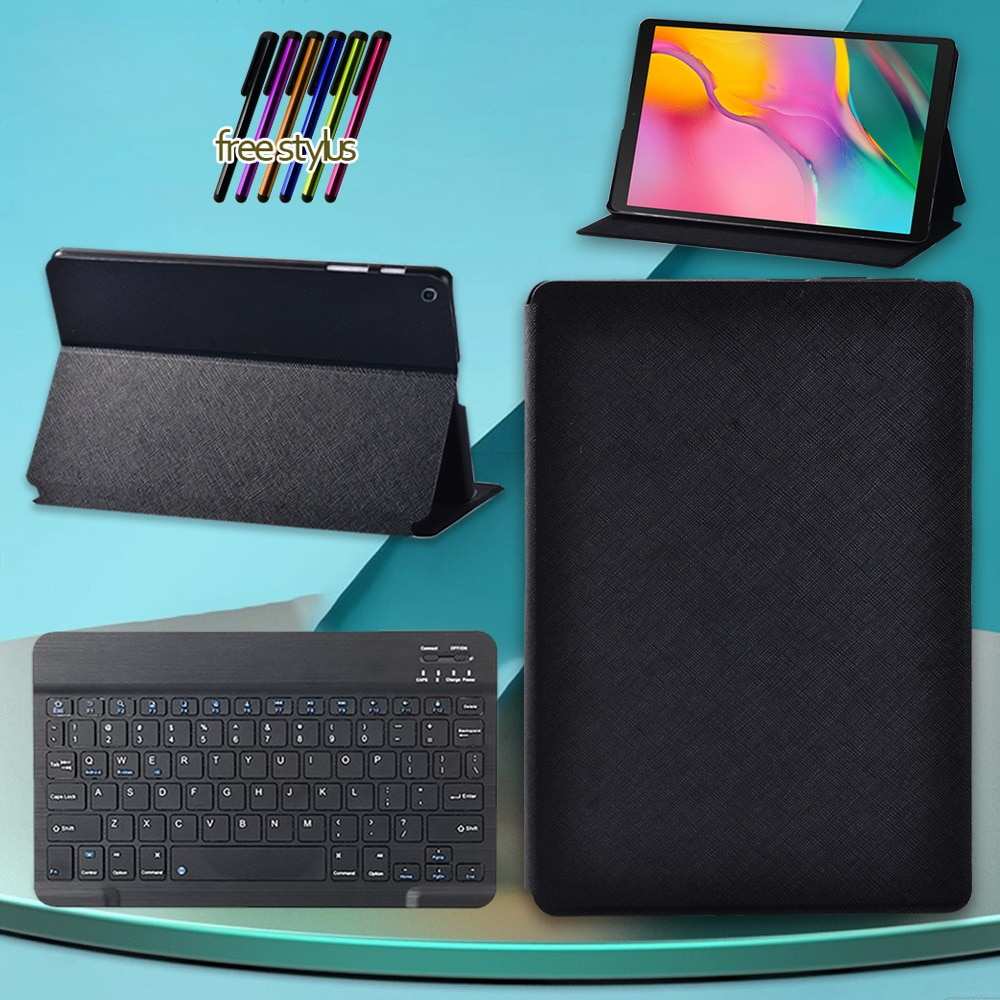 Tablet Case for Samsung Galaxy Tab A 10.1 2019 T510 T515 Drop Resistance Cover Case + Wireless Bluetooth Keyboard + Free Stylus