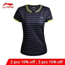 Li-Ning Vrouwen Badminton Shirts Op Droog Ademend Regular Fit Sport T-shirts Voering Li Ning Tee AAYM132 WTS1294