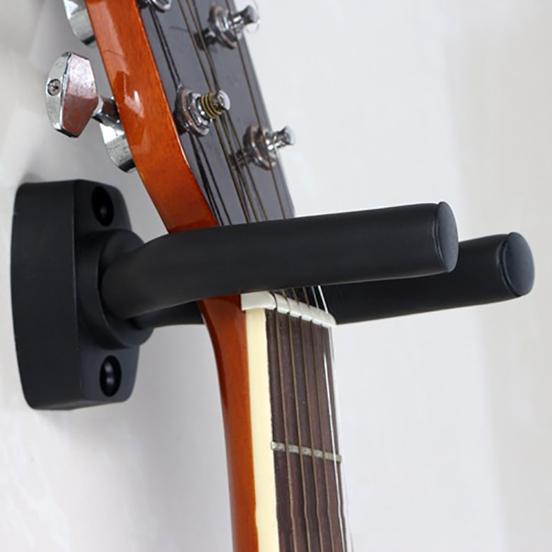 Guitar Hanger Hook Holder Black Wall Mount Stand Rack Bracket Display Strong Fixed Wall Guitar Bass Screws Accessories t 5912 stylish 1 4 lcd hook wall telephone w caller id display silver black white