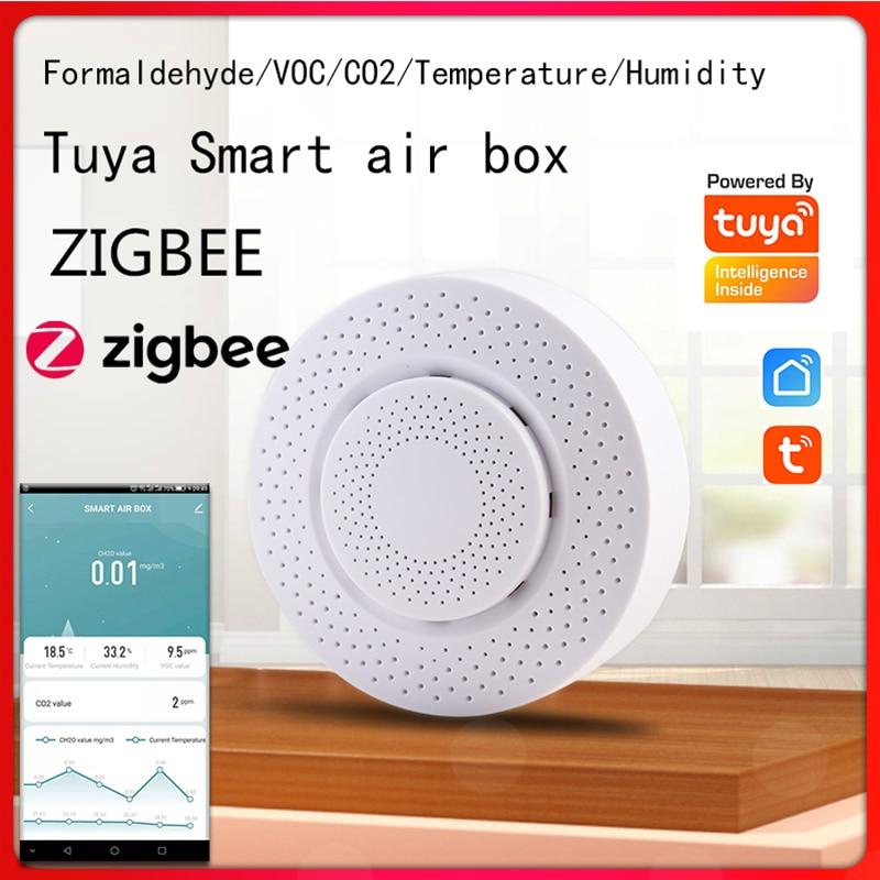 Zigbee/Tuya WIFI Smart Air Box Carbon Dioxide Detector CO2 Gas Sensor Formaldehyde VOC Temperature Humidity Sensor App Control