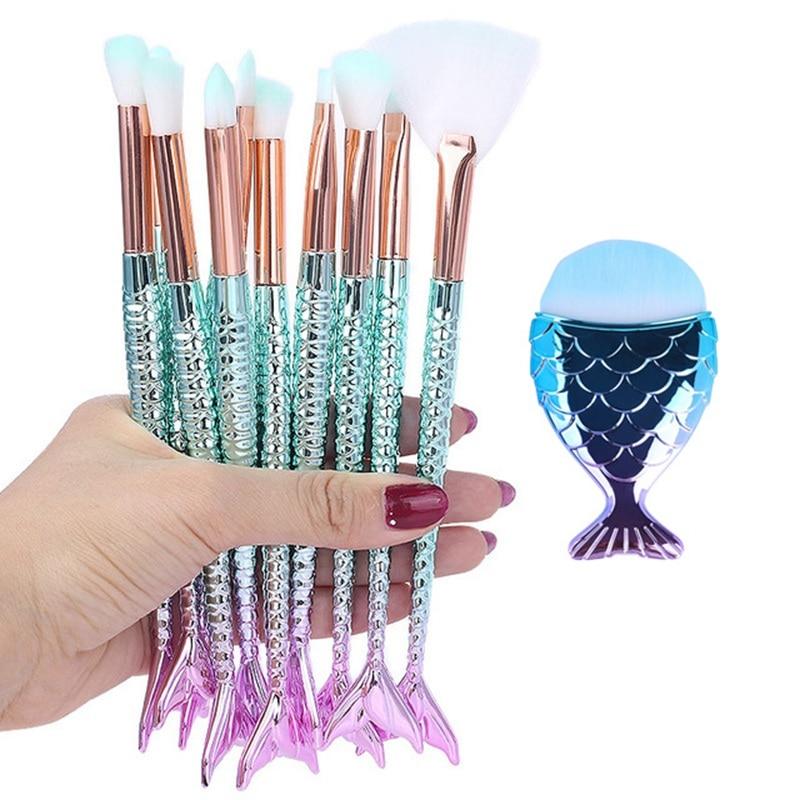 Makeup Brushes Kit Natural Tool Mermai Pencil Cosmetics Foundation Artist Mermaid Highlighter Face S