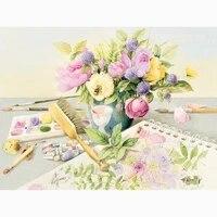 Peinture diamant theme  fleurs douces   broderie complete 5D  perles carrees ou rondes  points de croix  mosaique  decoration dinterieur  cadeau  a faire soi-meme