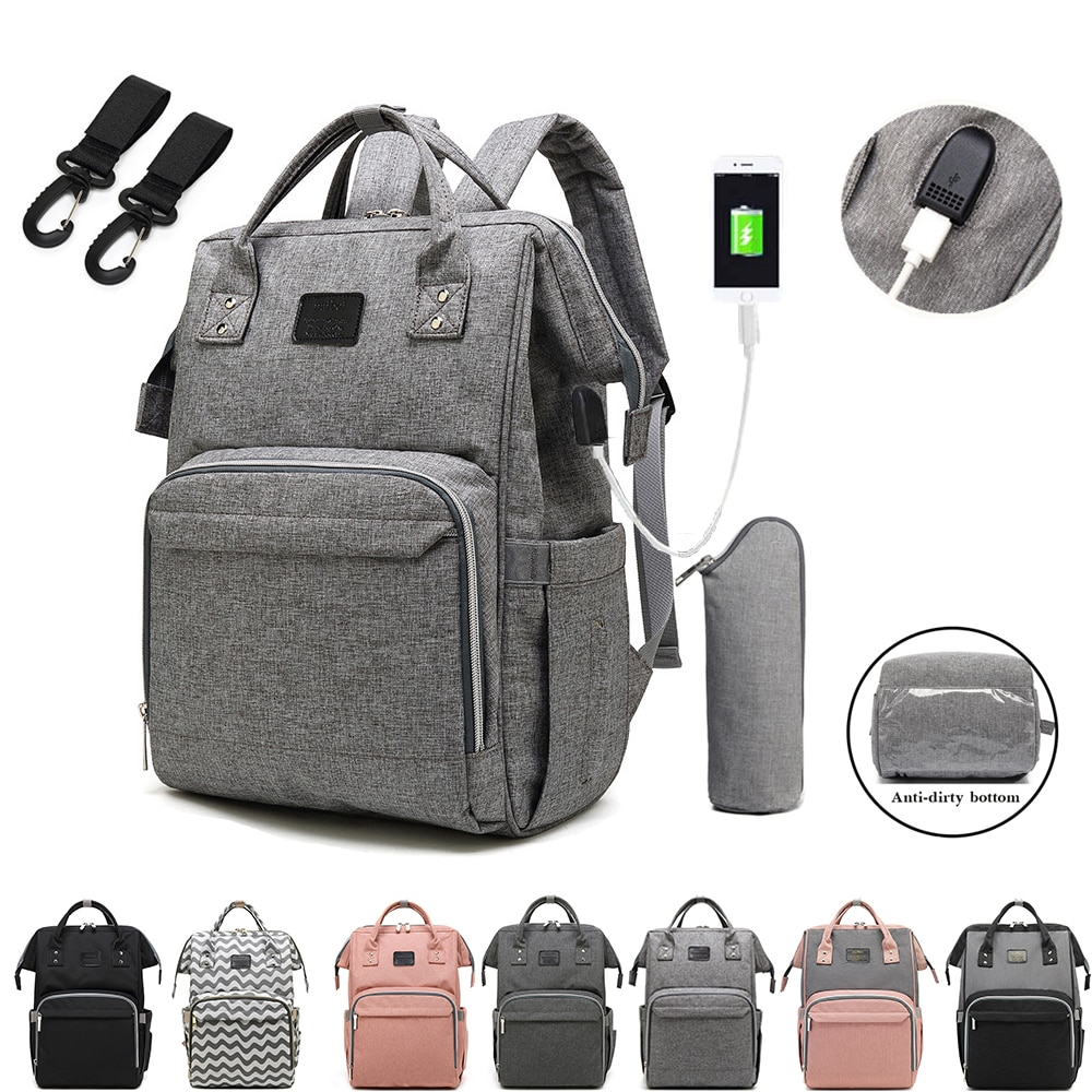 Top Quality Large Capacity Baby Nappy Backpack Bag With USB Multi-function Waterproof Travel Diaper Bags Baby Care Mummy Bag