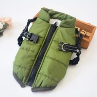 winter warm dog coat skiing costume sleeveless cotton padded vest with durable chest strap harness dog coat a