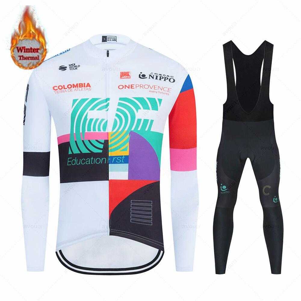 طقم جيرسي لركوب الدراجات من الصوف الحراري للشتاء 2021 بدلة سباق الدراجات بدلة لركوب الدراجات ملابس Ropa Ciclismo Raphaing Ef Team