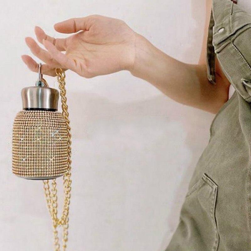 220 مللي الإبداعية الماس زجاجة تُرمُس مع سلسلة مكنسة من الفولاذ المقاوم للصدأ قارورة كوب هدية للرجال النساء زجاجات مياه
