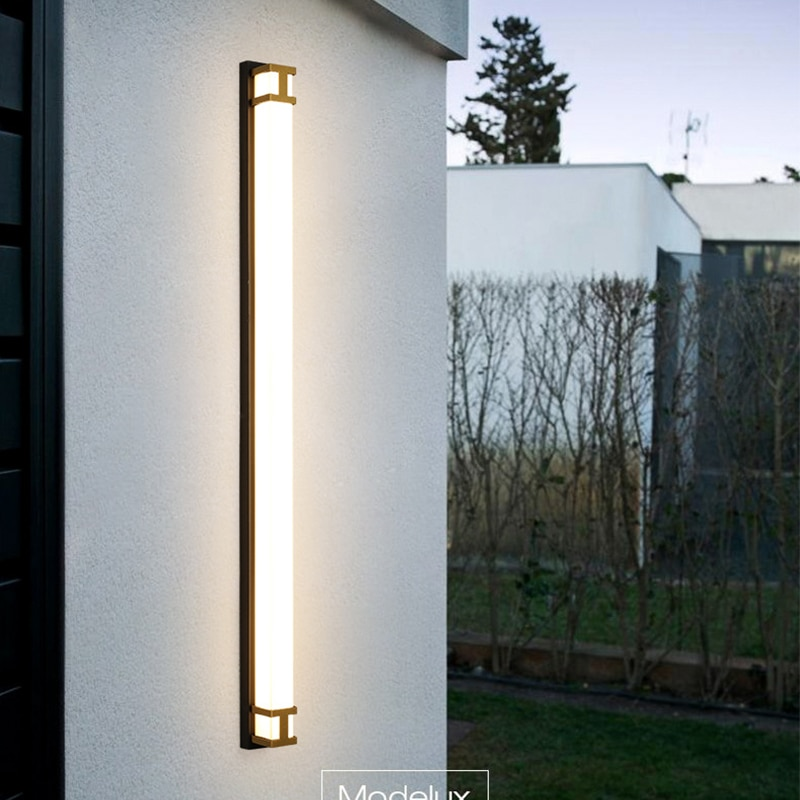 LED Outdoor Wall Light Long Wall Light Modern Waterproof IP65 Porch Garden Wall Lamp villa Black gold color Sconce Luminaire