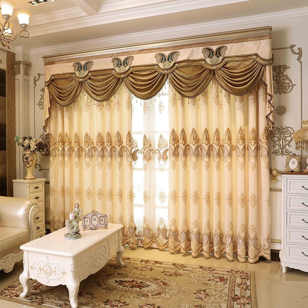 Curtians لغرفة المعيشة غرفة نوم بسيطة الأوروبي نمط المطرزة الستائر اليسار واليمين Biparting العامة المفتوحة الطية