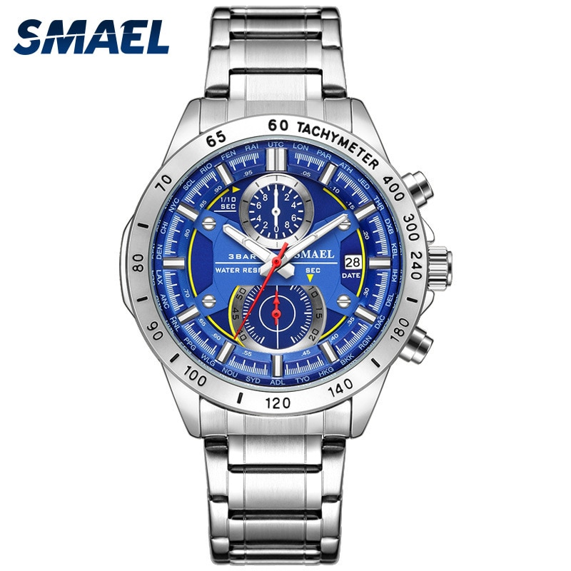 SMAEL Fashion Men's Watches Top Brand Silver Blue Stainless Steel Man Watch Life Waterproof Quartz Wirstwatches Male Clock