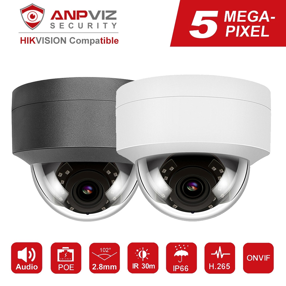 Hikvision Kompatibel Anpviz 5MP/8MP POE IP Kamera Mit Mikrofon Audio Sicherheit Kamera Outdoor POE IP Kamera IP66 ONVIF 30M IR